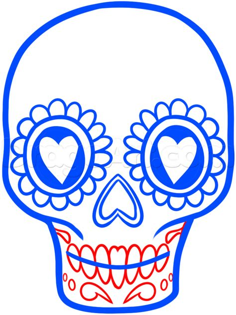 Day Of The Dead Drawings Easy by How To Draw A Sugar Skull Easy Step By Step Skulls Pop
