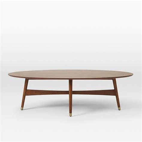 reeve mid century oval coffee table pecan west elm