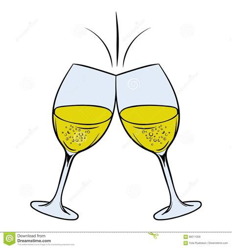 cartoon white wine glasses of white wine icon cartoon stock vector image