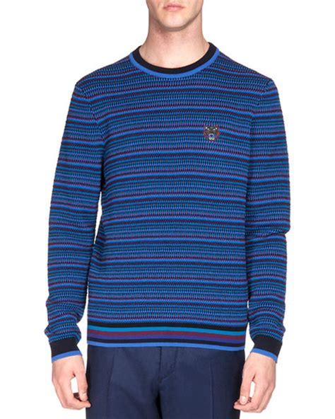 Blue Tribal Sweater kenzo multi tribal striped sweater blue