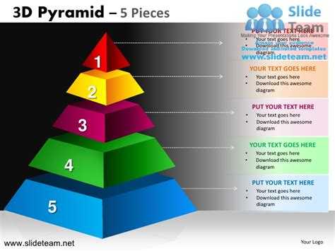 3d Pyramid Stacked Shapes Chart 5 Pieces Powerpoint Ppt Slides Pyramid Powerpoint Template