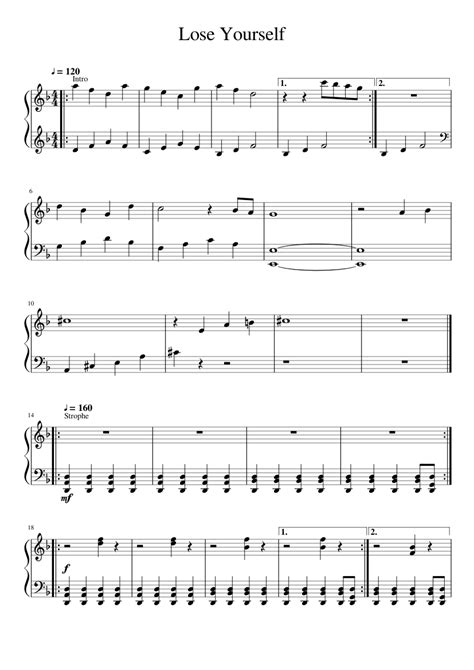 testo lose yourself lose yourself by eminem sheet for piano and