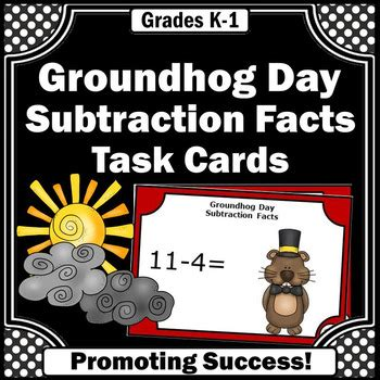 groundhog day plot synopsis groundhog day math subtraction facts task cards