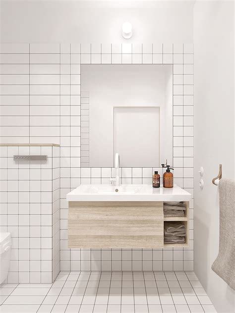 White Tiled Bathrooms by Minimalist Apartment For A Family Of Four