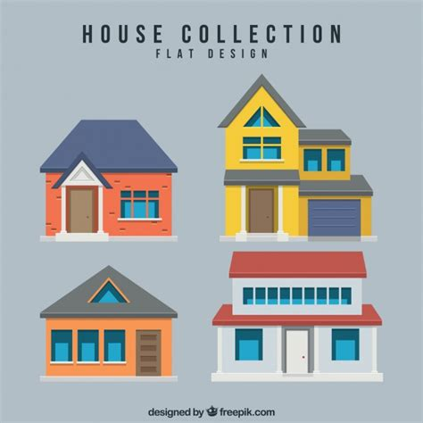 house flat design several houses in flat design vector free download