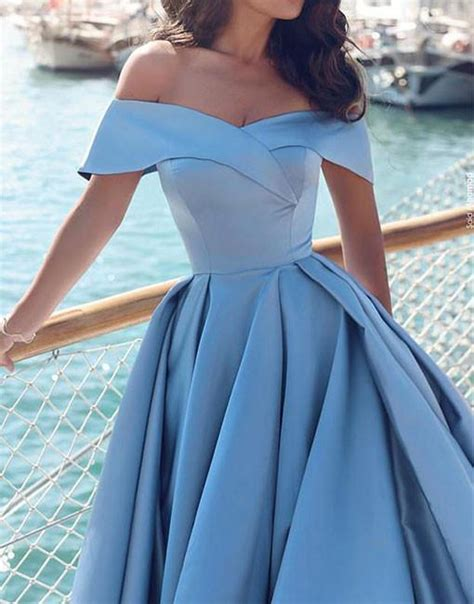 light blue satin dress light blue satin prom dress shoulder prom