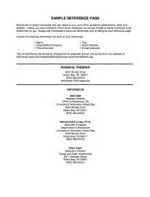 Resume Reference Page Format by Resume Exles With References