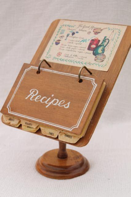 vintage wood recipe stand w recipe cards fun retro
