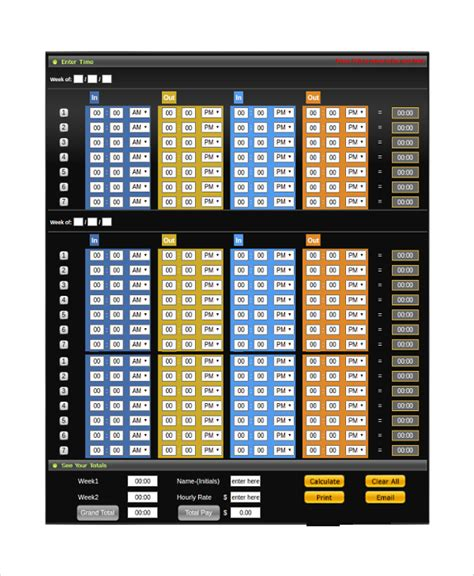 time punch card template 20 sle time card calculators sle templates
