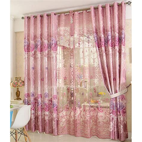 rose pattern curtains romantic rose pattern poly cotton blend privacy decorative