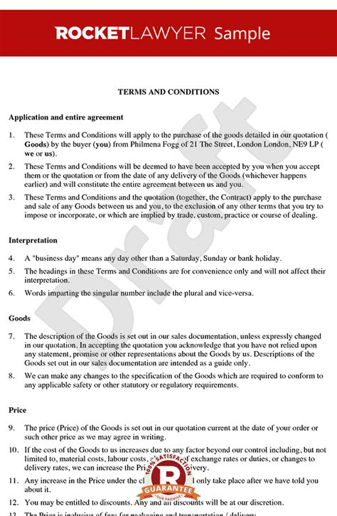 purchase order terms and conditions template uk terms and conditions for sale of goods to business