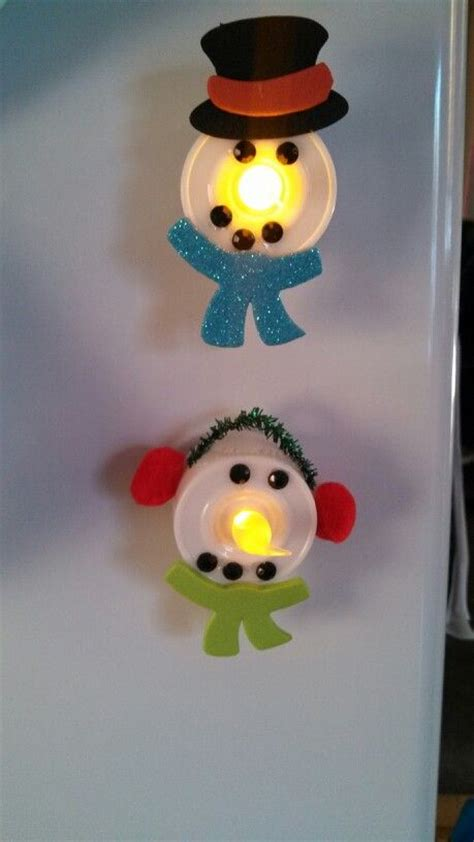 snowman tealight magnets hailey and i made today craft