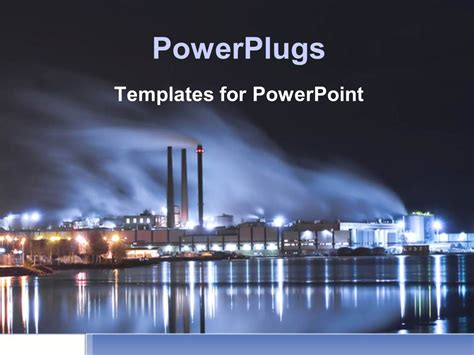 industrial powerpoint templates powerpoint template brightly lit industrial district at