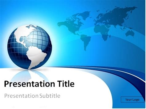 Download Free Blue 3d Globe And World Map Powerpoint Template Globe Powerpoint Template