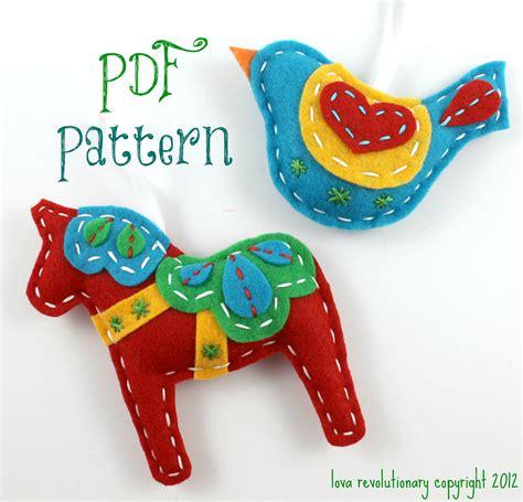 felt pattern pdf dala horse swedish bird pdf pattern sewing pattern