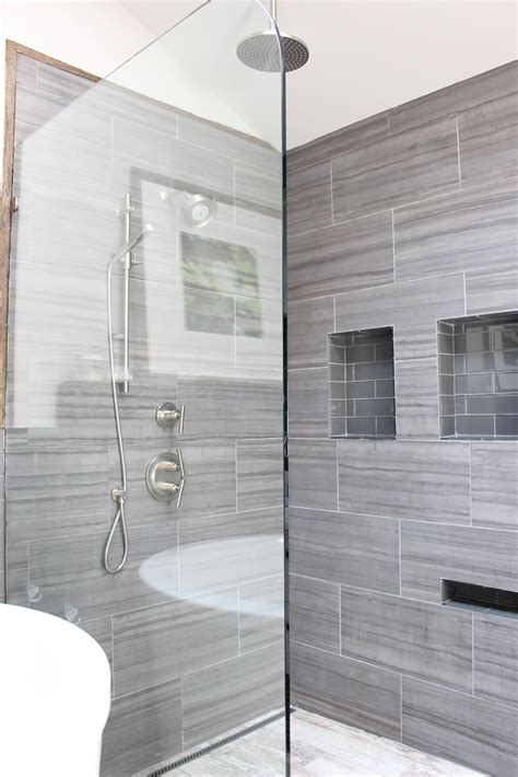 tile  pinterest vertical shower tile porcelain floor  shower niche