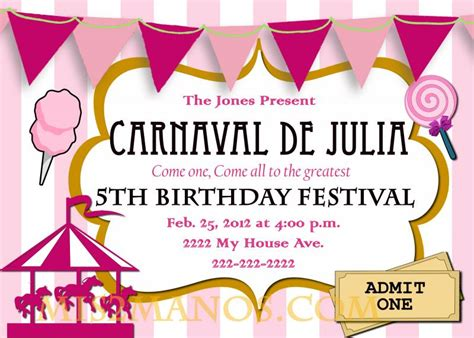 printable birthday invitations carnival theme free printable carnival birthday party invitations