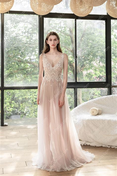 illusion dusty rose beach   wedding dress brydealo