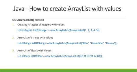 how to declare arraylist with values in java exles
