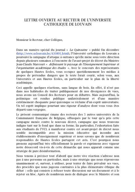 Exemple De Lettre Ouverte Sur L Environnement Lettre Ouverte Des Recteurs De 5 Unifs