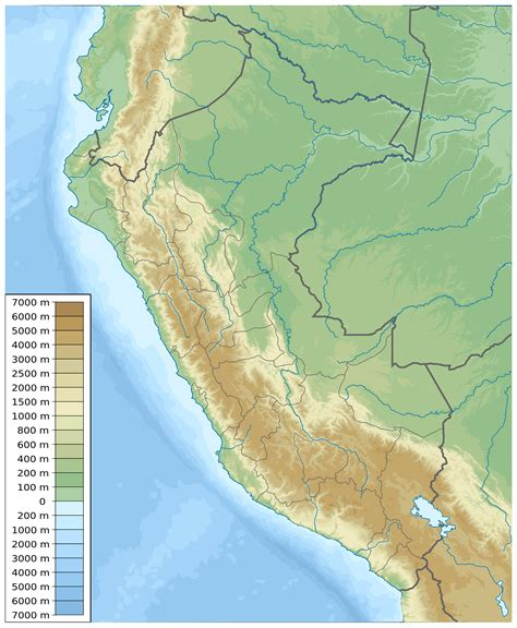 physical map of detailed physical map of peru peru detailed physical map