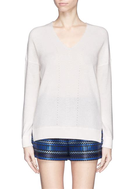 vince wide v neck sweater in white lyst
