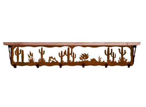 42 quot desert metal wall shelf and hooks with pine wood