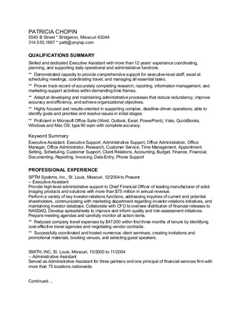 scannable resume template executive assistant keyword scannable sle resume pictures