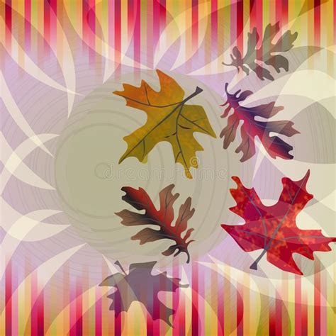 nostalgic colors autumn background with falling leafs and strips in