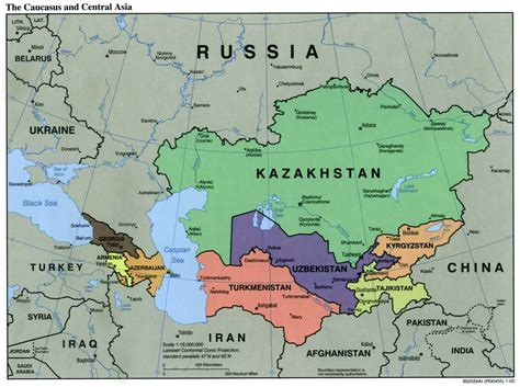map of central asia file caucasus central asia political map 2000 jpg
