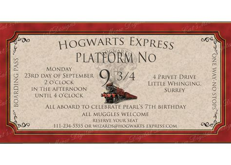 harry potter printable harry potter party invitation