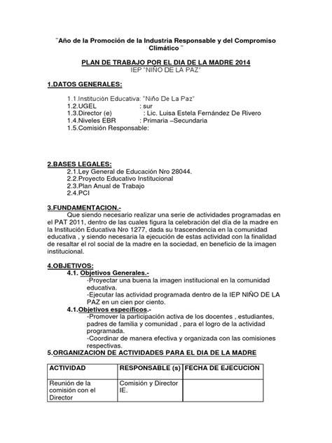 modelo plan de trabajo scribd newhairstylesformen2014 com plan de trabajo dia de la madre