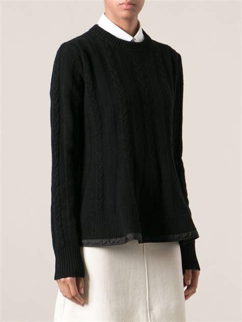 aran knit sweater moncler aran knit sweater in black lyst