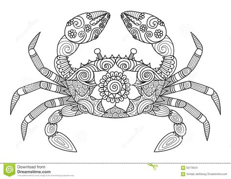 zentangle coloring book crab zentangle style for coloring book for