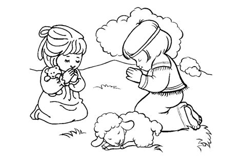 Free Christian Coloring Pages For Kids Children And Children Praying Coloring Page