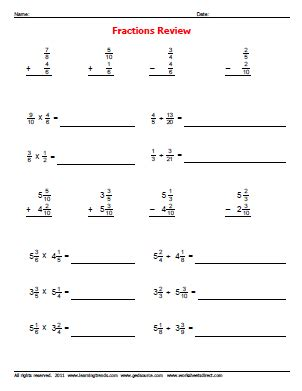 Fractions Review Worksheet by Fraction Review Problems 187 Worksheetsdirect