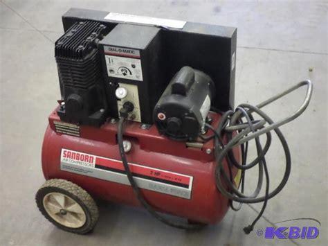 sanborn 2hp magna 120psi air compressor le contractors surplus equipment k bid