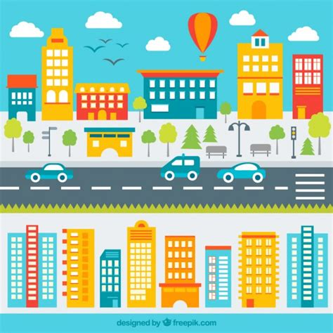 colorful city colorful city vector free