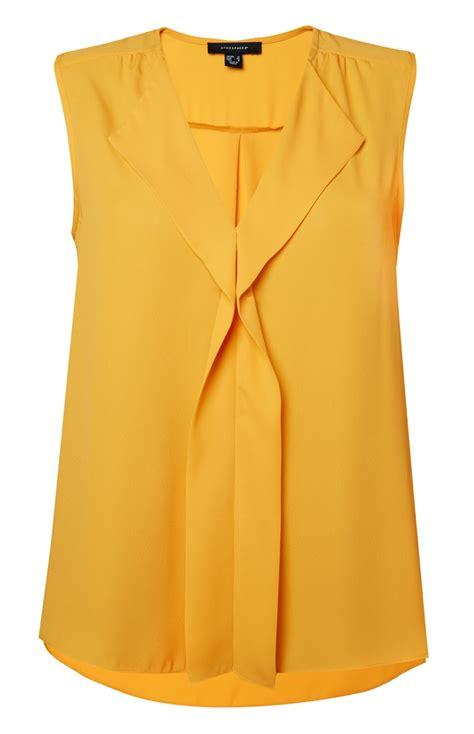 Sine Top blusa en cascada mangas amarilla ropa de dama