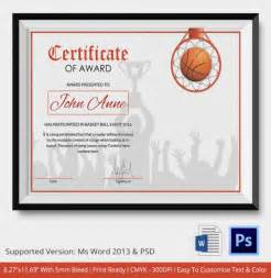 Basketball Mvp Certificate Template by Basketball Certificate Template 14 Free Word Pdf Psd