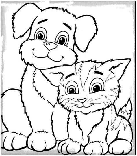 dibujos bonitos para colorear de animales archivos dibujos de gatos y perros para colorear e imprimir