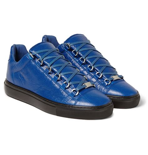 blue and sneakers balenciaga arena creased leather sneakers in blue for
