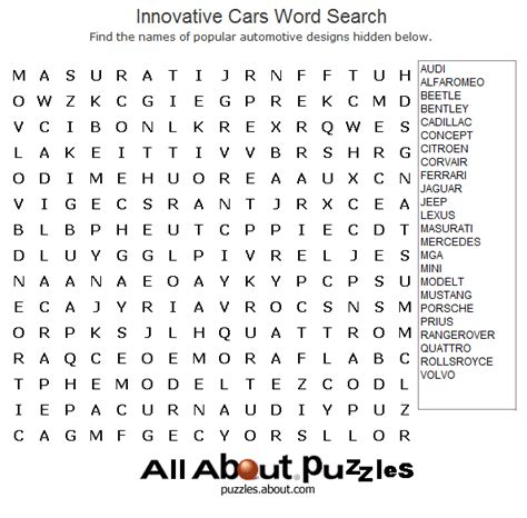 printable word search cars print out these fun word search puzzles free word search