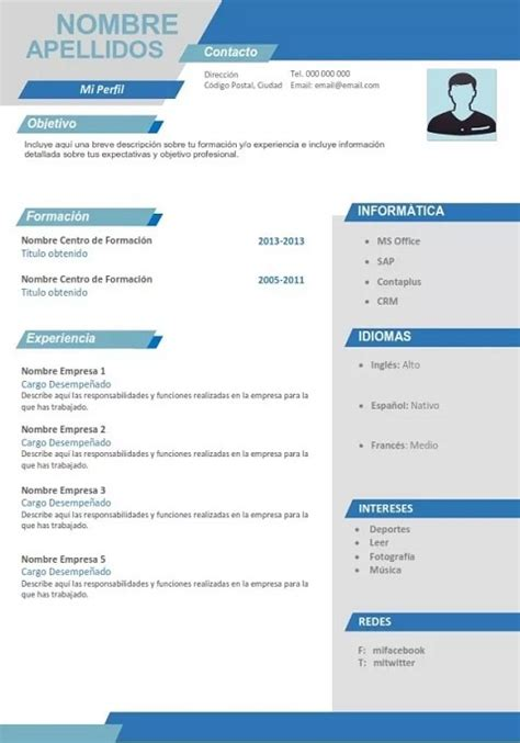 Modelo Hoja Curricular sintesis curricular formato resumen curricular sintesis