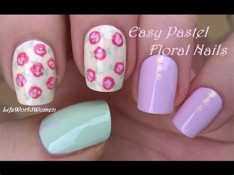 super easy nail art youtube super easy pastel floral nail art for beginners youtube