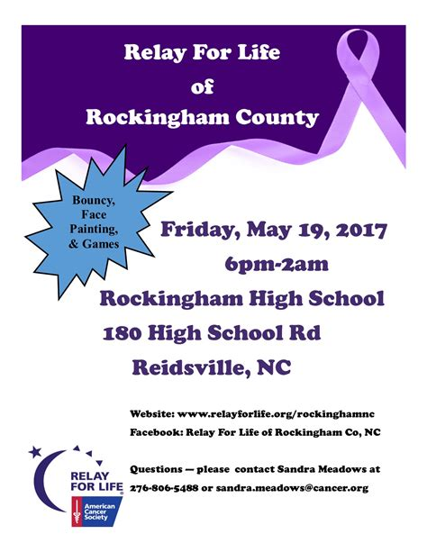 relay for life of rockingham county may 19 2017 to may