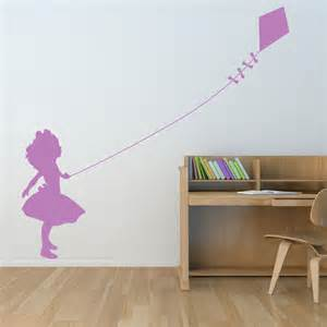 little girl flying kite wall decals stickers graphics with dandelion decal sticker graphic