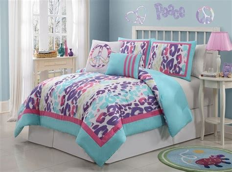 multi colored comforter sets with love home decor girls kids bedding ashley leopard