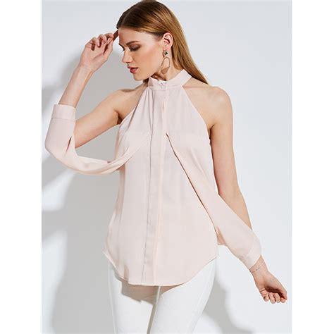 Plain Stand Collar Blouse fashion pink stand collar plain blouse top n14254