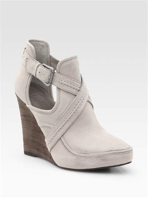 joie brickhouse low cut leather wedge ankle boots in gray